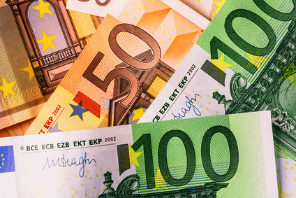 Detail of banknotes of the European Union as a background.